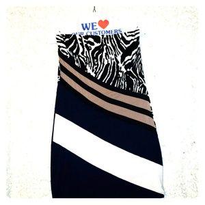 Tube top half zebra top half striped dress